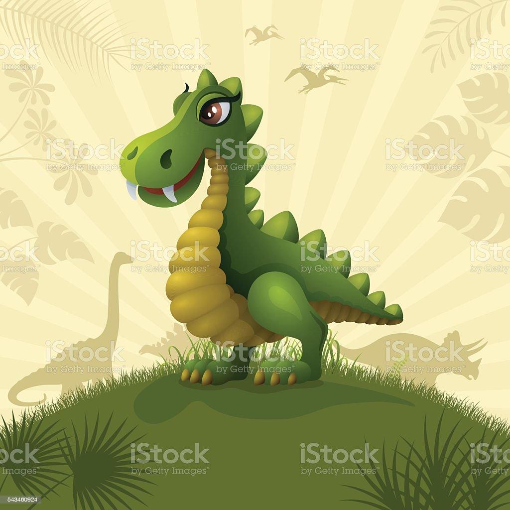 Cute Dinosaur vector art illustration