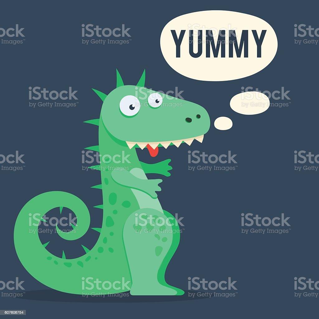 Cute dinosaur yummy vector art illustration