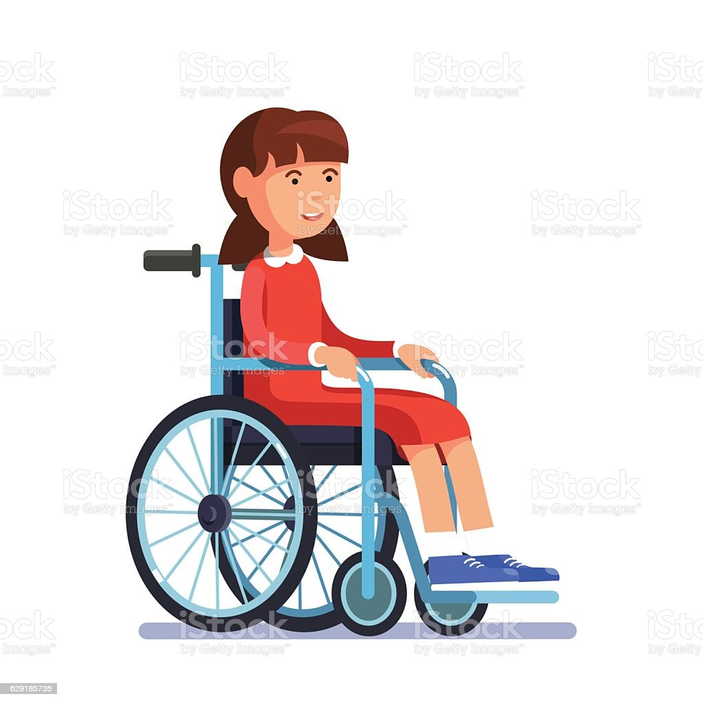 Cute Disabled Girl Kid Sitting In A Wheelchair stock vector art