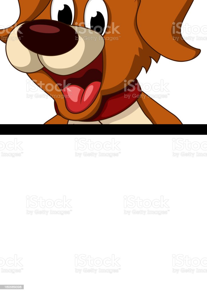 cute dog cartoon holding blank sign royalty-free stock vector art