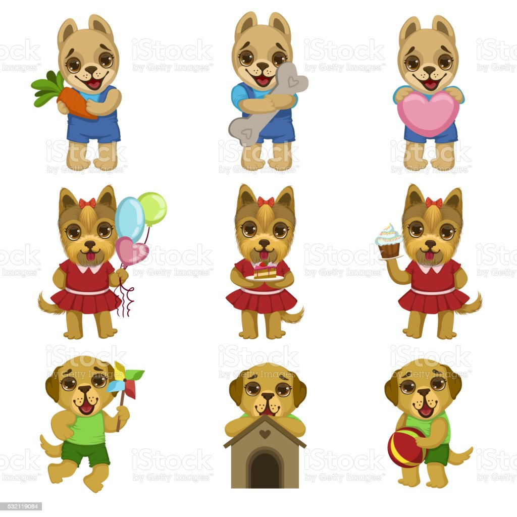 Cute Dog Cartoon Set vector art illustration