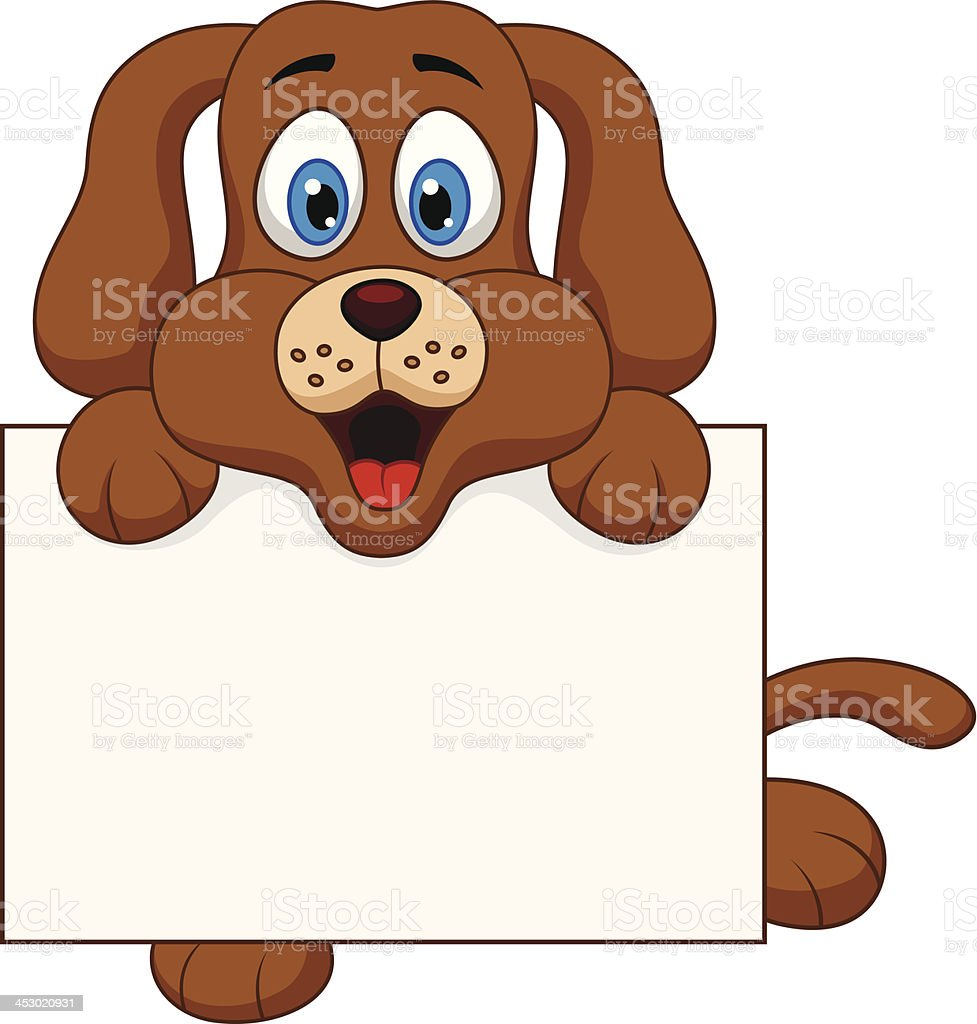 Cute dog cartoon with blank sign royalty-free stock vector art