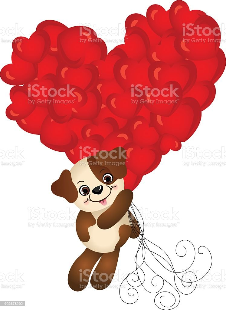 Cute dog flying with heart balloons vector art illustration
