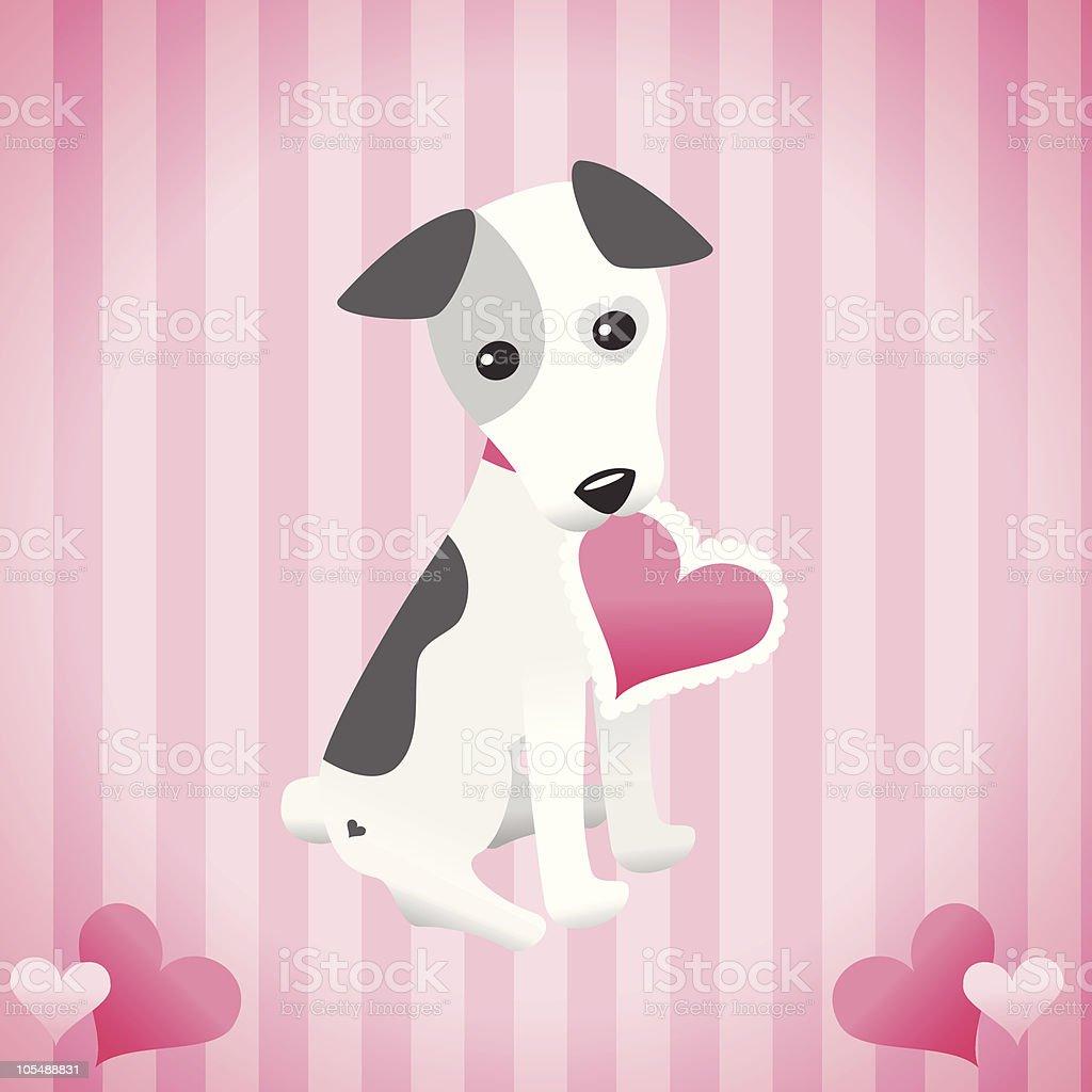 Cute dog holding a valentine vector art illustration