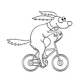 Cute dog riding a bicycle.