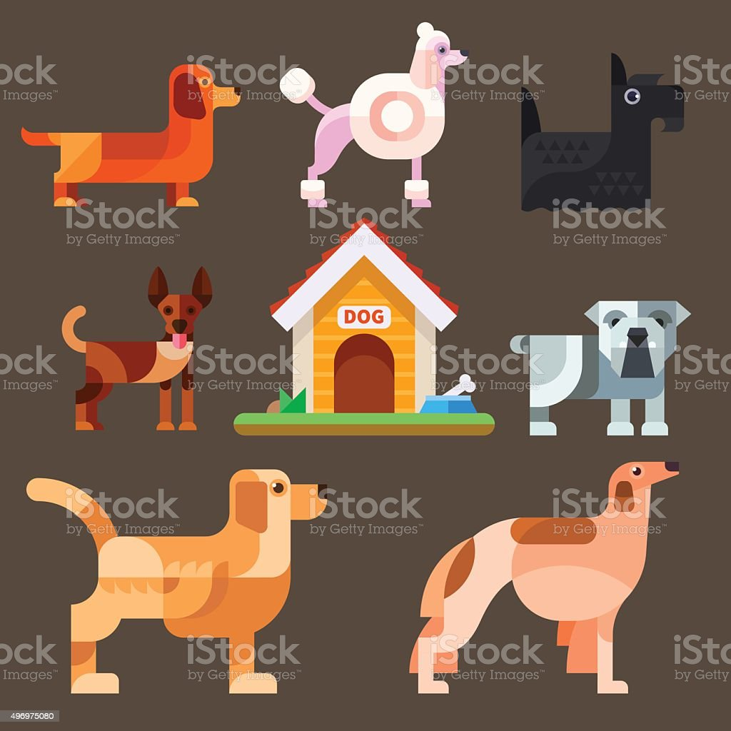 Cute dogs around the kennel. vector art illustration
