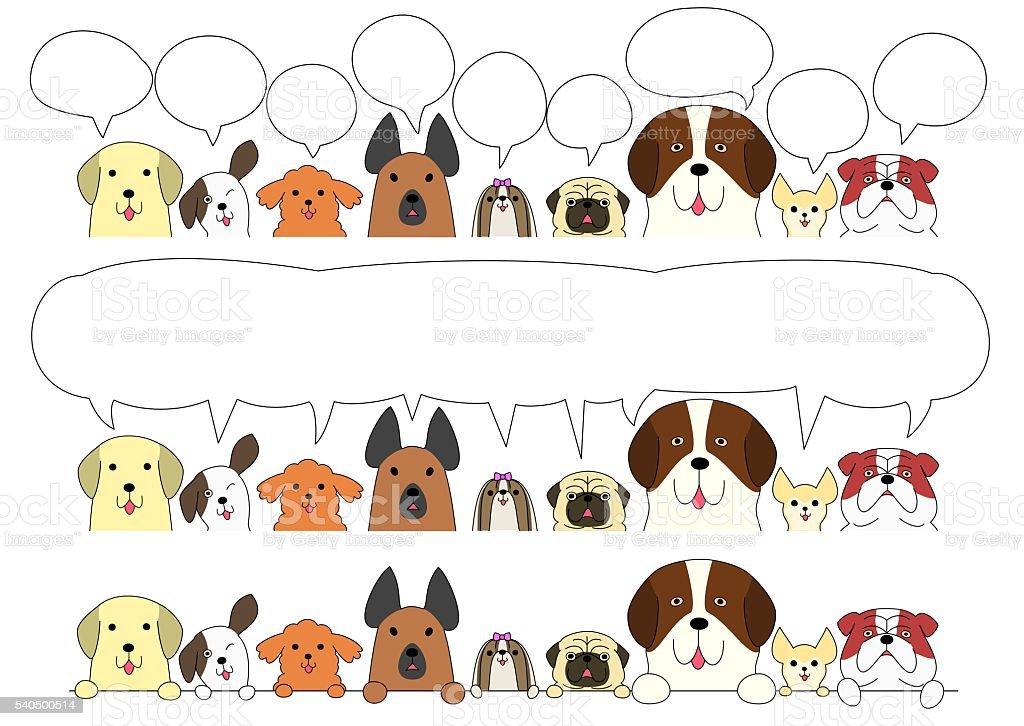 Cute dogs border set vector art illustration