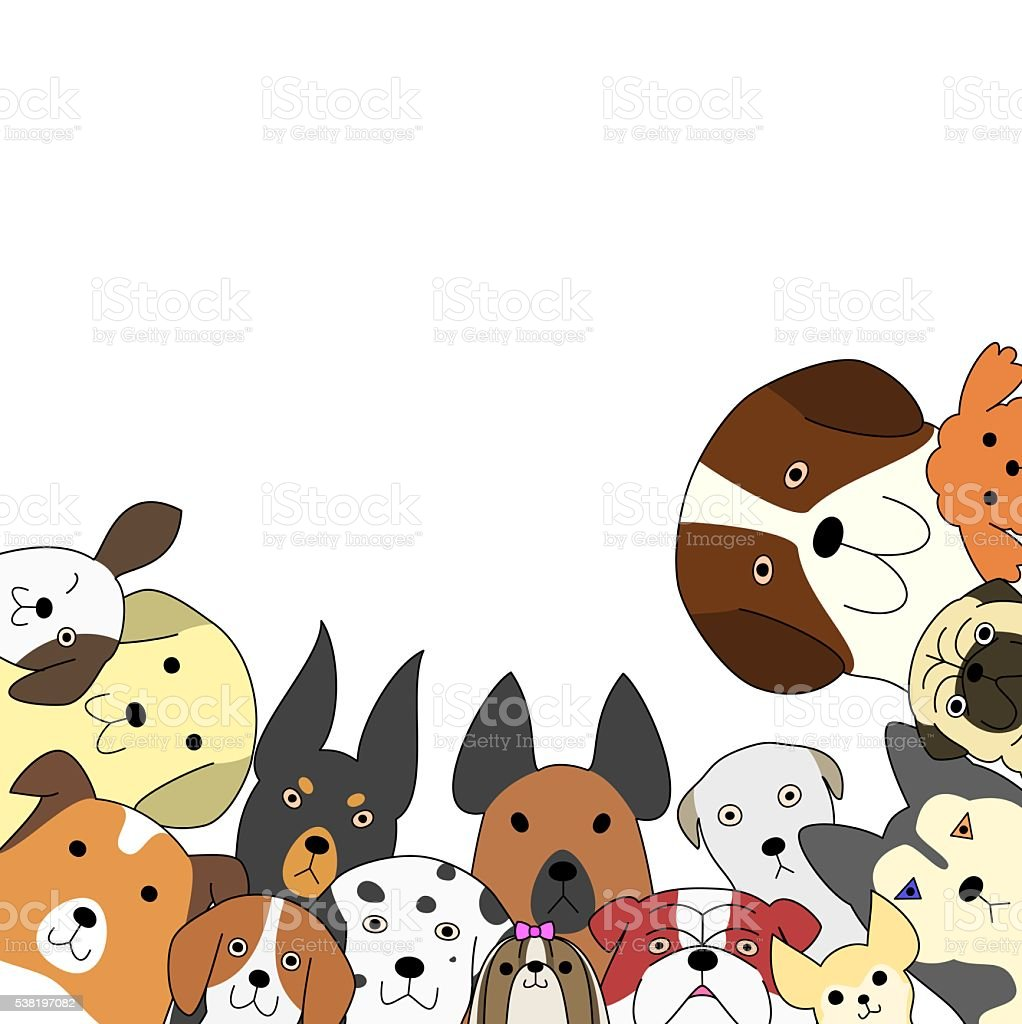 Cute dogs card vector art illustration