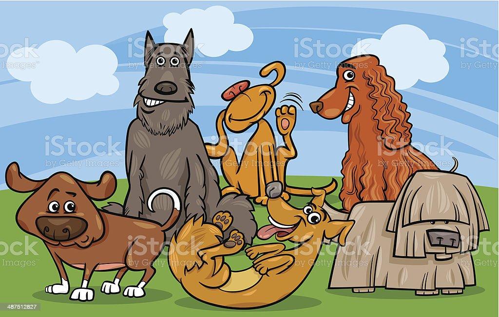 cute dogs group cartoon illustration vector art illustration