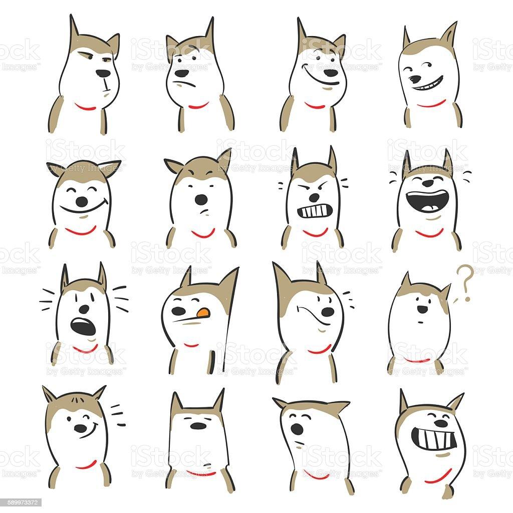 Cute dogs vector art illustration