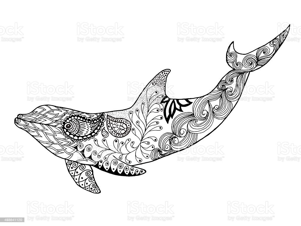cute dolphin antistress coloring page stock vector art