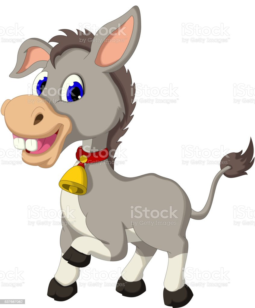 cute donkey cartoon posing vector art illustration