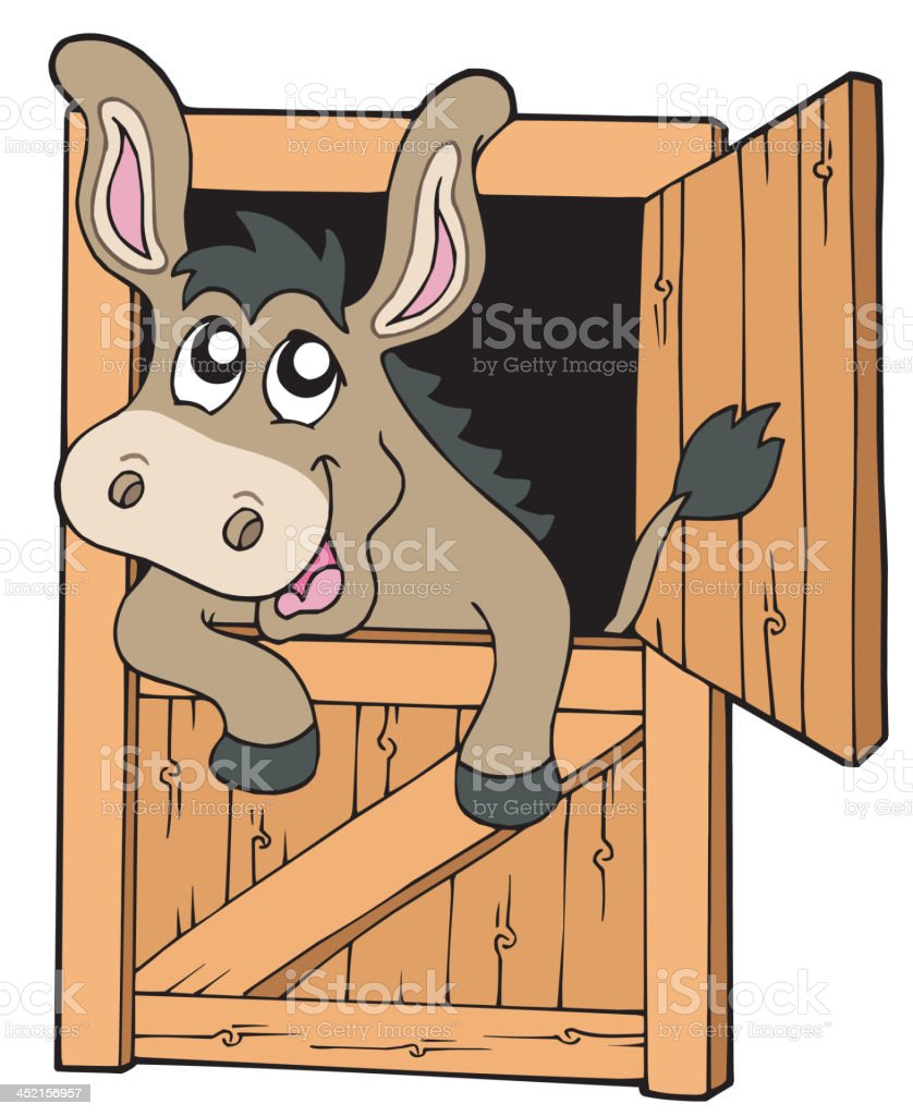Cute donkey in stable royalty-free stock vector art