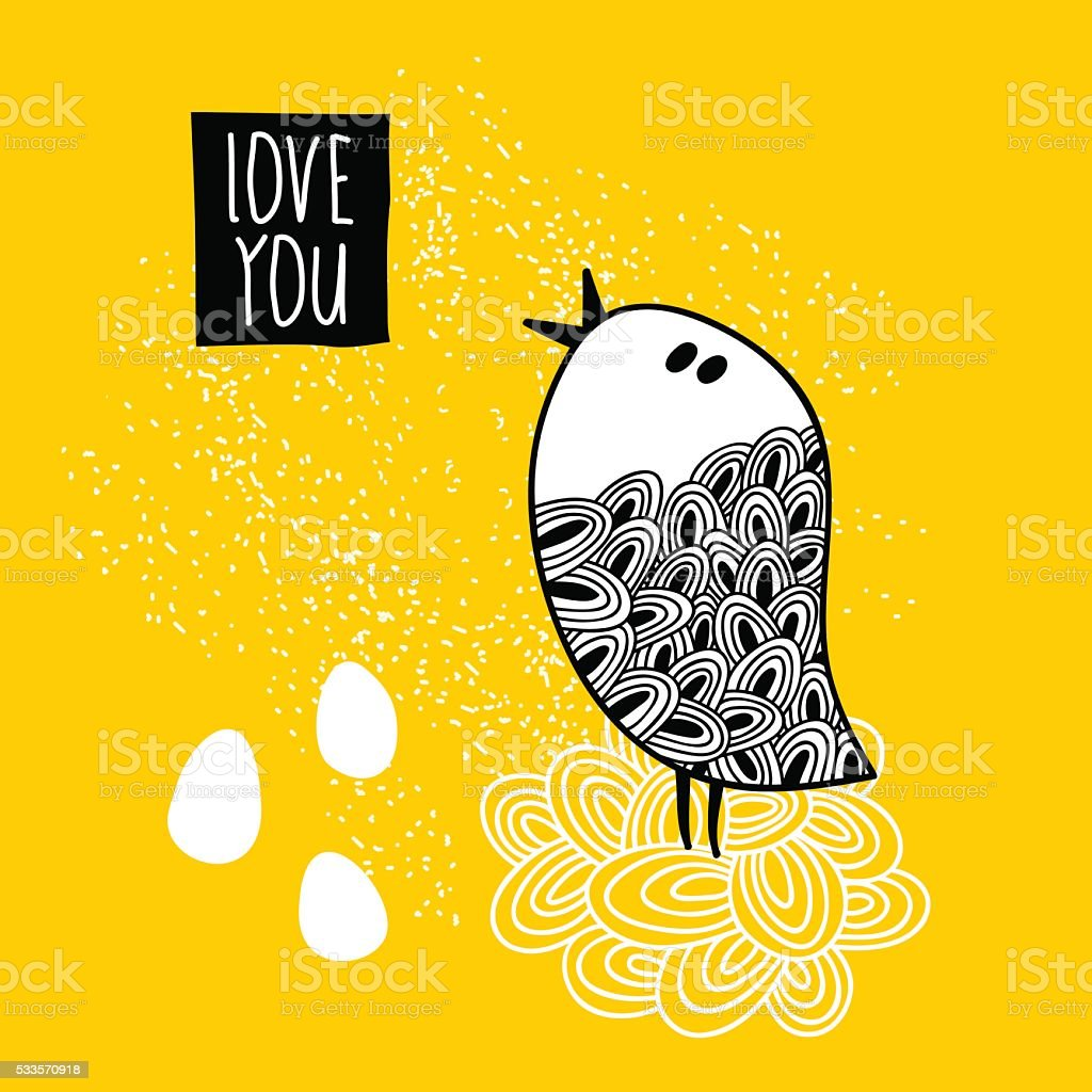 Cute doodle bird print. vector art illustration