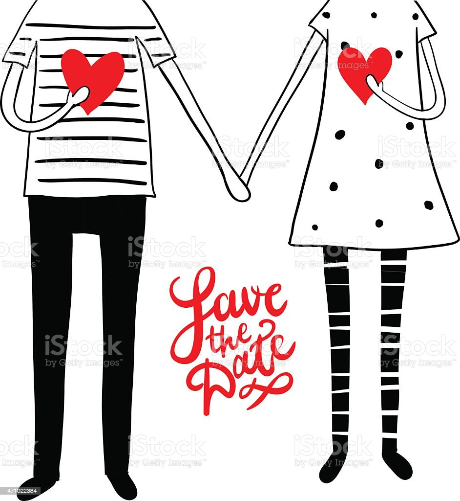 Cute doodle couple with hearts vector art illustration