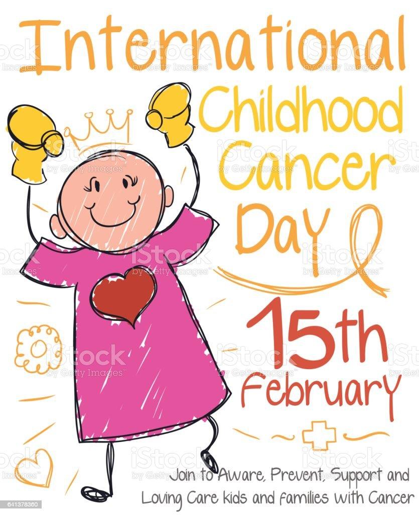 Cute Doodle Girl Drawing for International Childhood Cancer Day vector art illustration