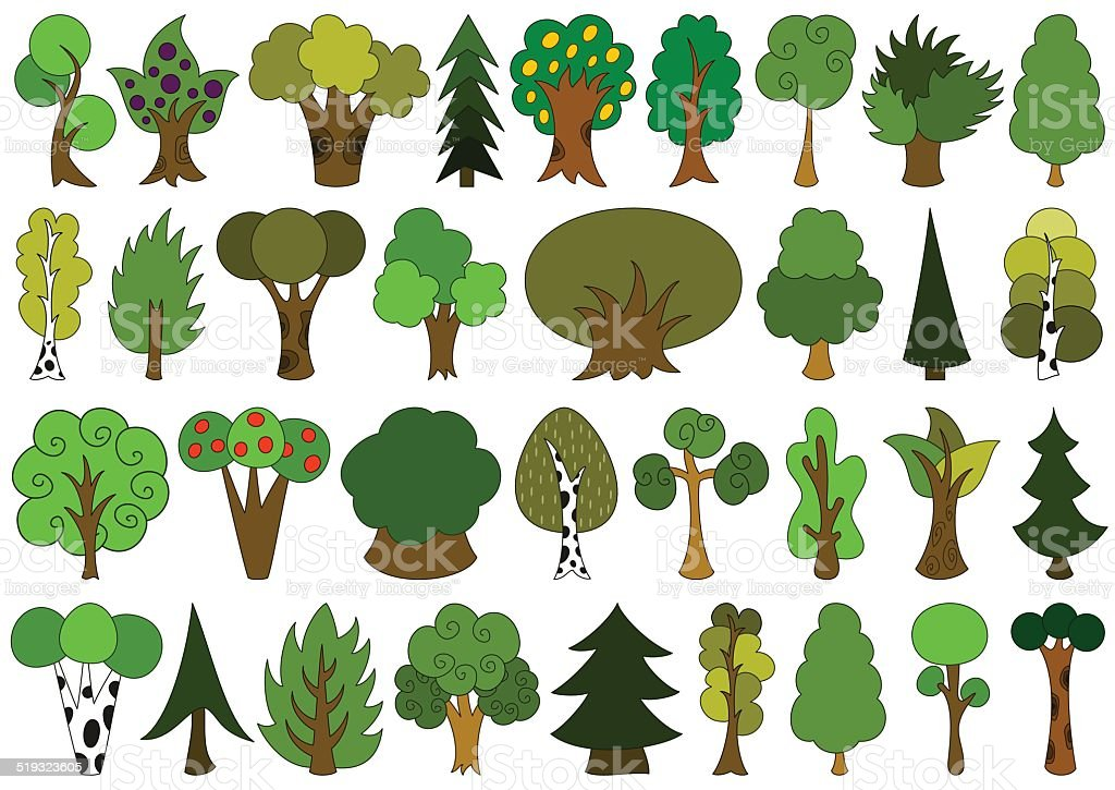 Cute doodle trees, tree doodles set, isolated on white vector art illustration