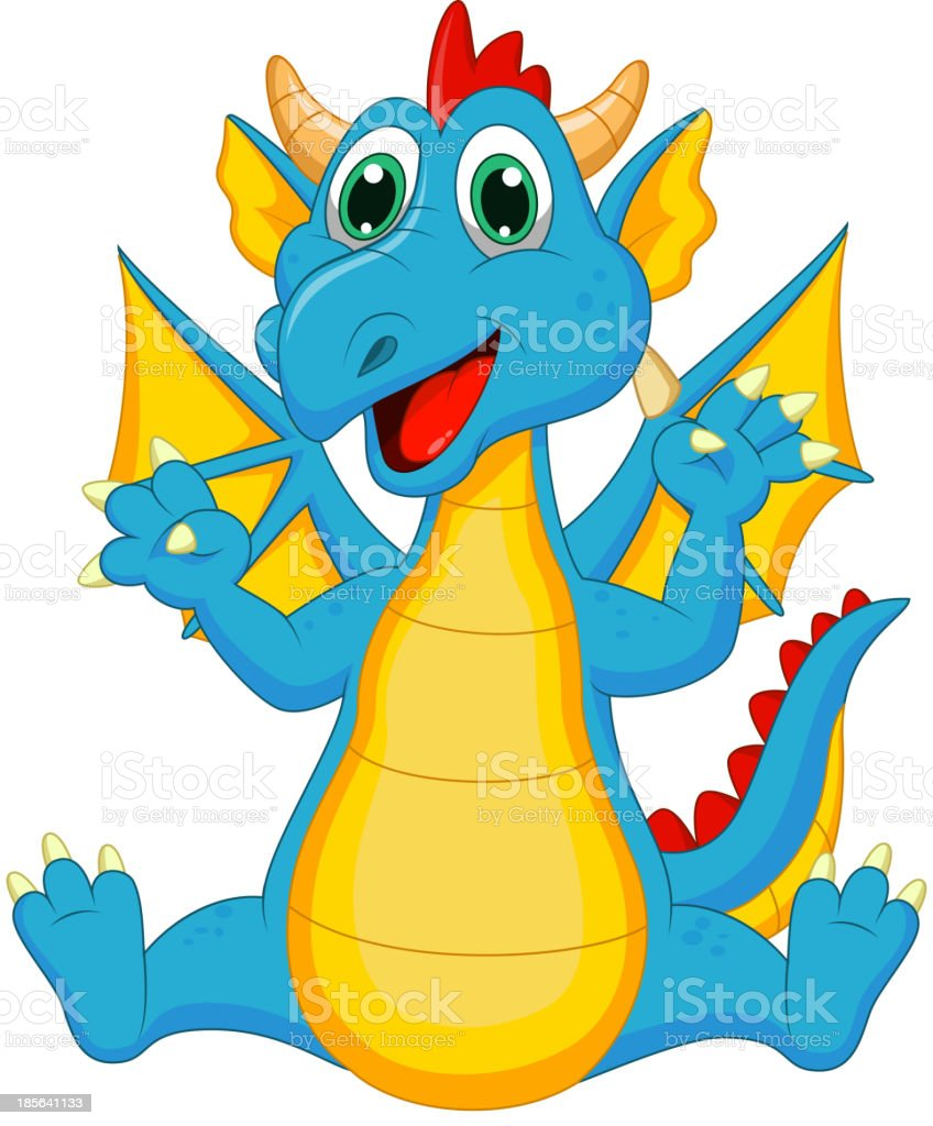 Cute dragon cartoon royalty-free stock vector art
