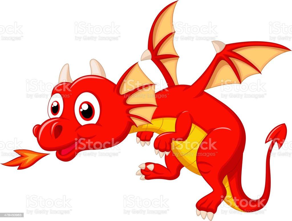 Cute dragon cartoon vector art illustration