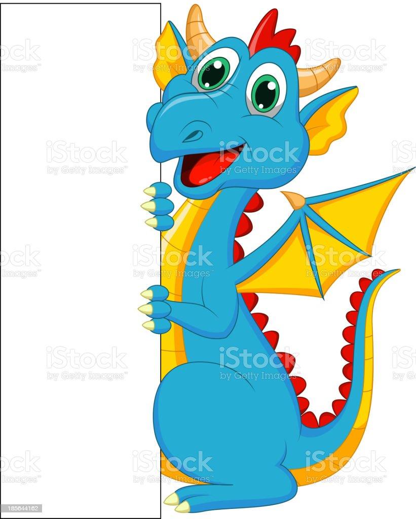 Cute dragon cartoon with blank sign royalty-free stock vector art