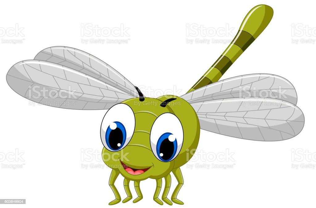 Cute dragonfly cartoon vector art illustration