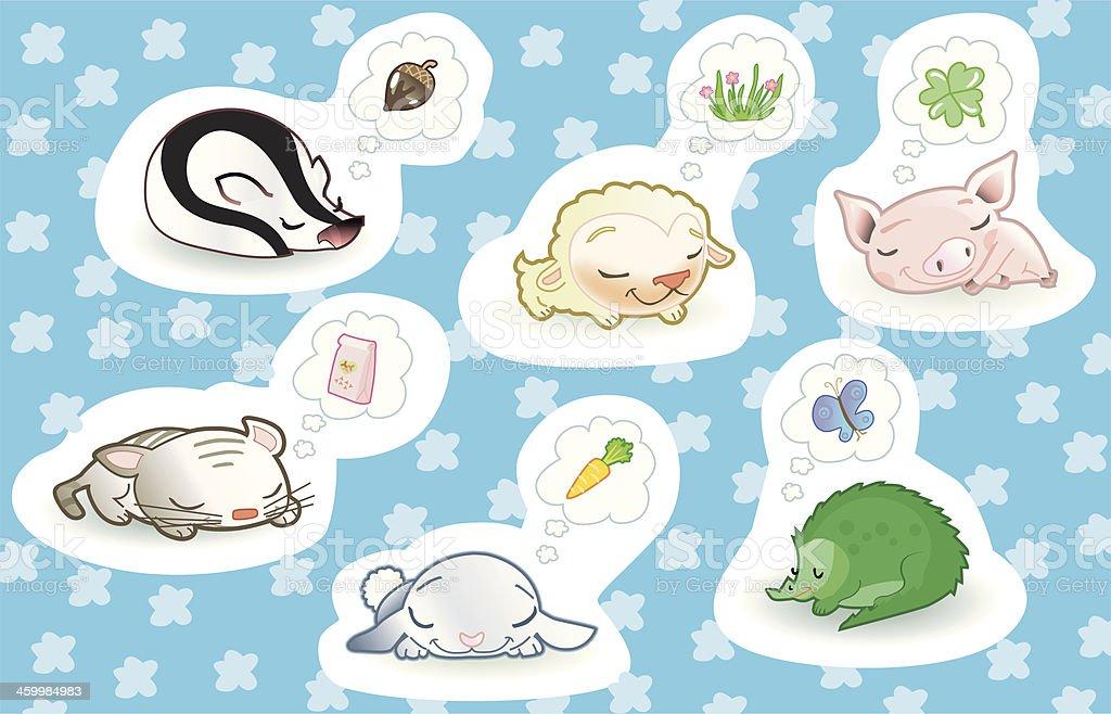 cute dreaming animals. vector art illustration