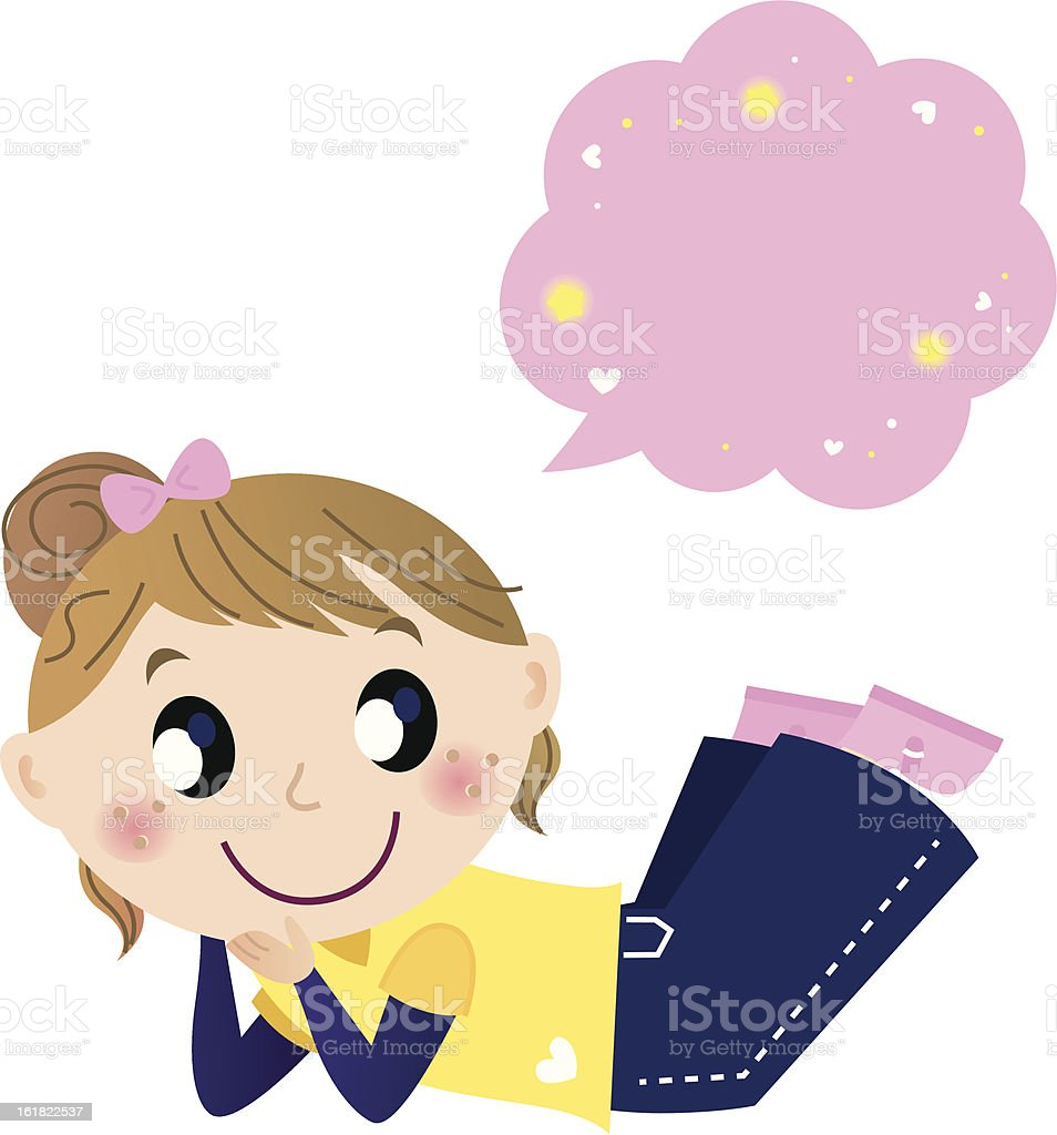 Cute dreaming girl with speech bubble isolated on white royalty-free stock vector art