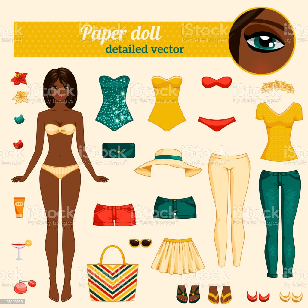 Cute dress up paper doll. vector art illustration