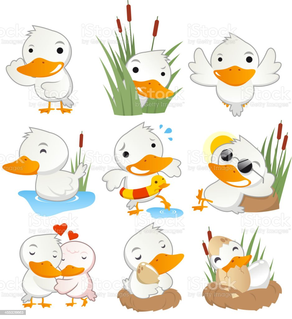 Cute duck in action set collection vector art illustration