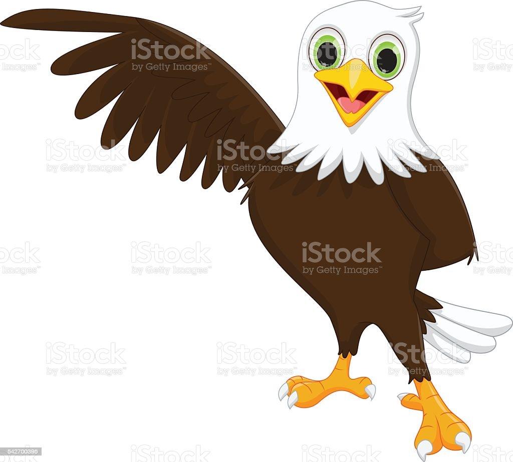 cute eagle cartoon waving vector art illustration