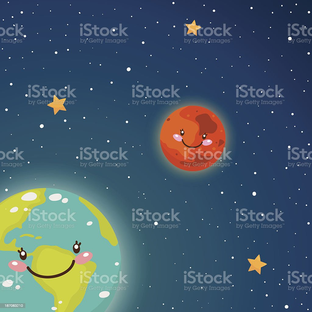 Cute Earth and Mars in space royalty-free stock vector art
