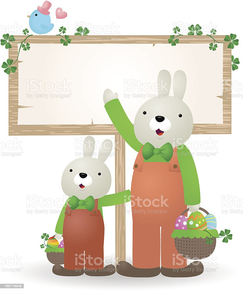 Cute Easter bunny family with blank sign, eggs and bluebird vector art illustration
