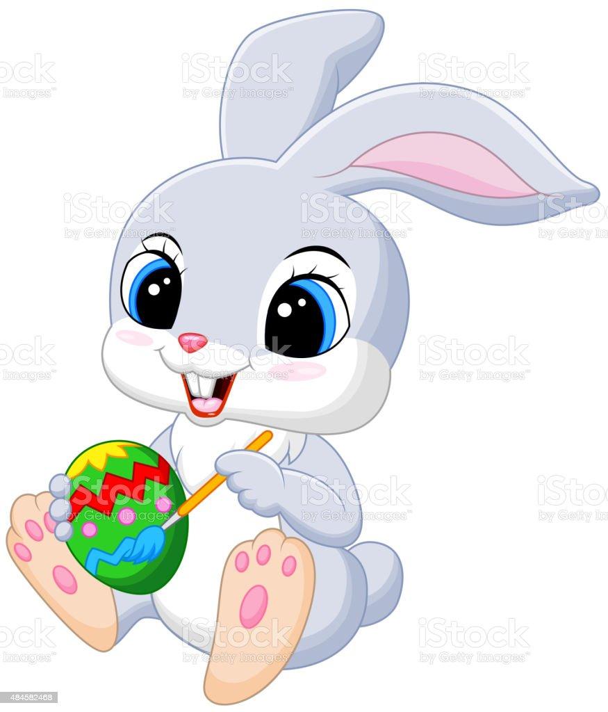 cute easter bunny painting an egg stock vector art 484582468 istock