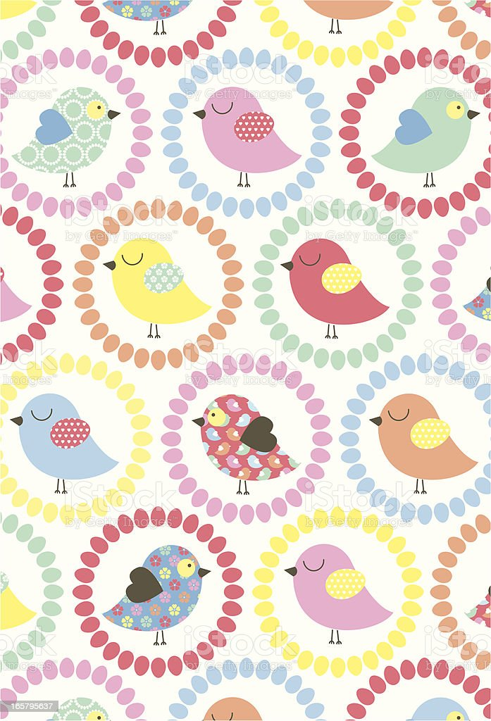 Cute Easter Chick Pattern with Flowers royalty-free stock vector art