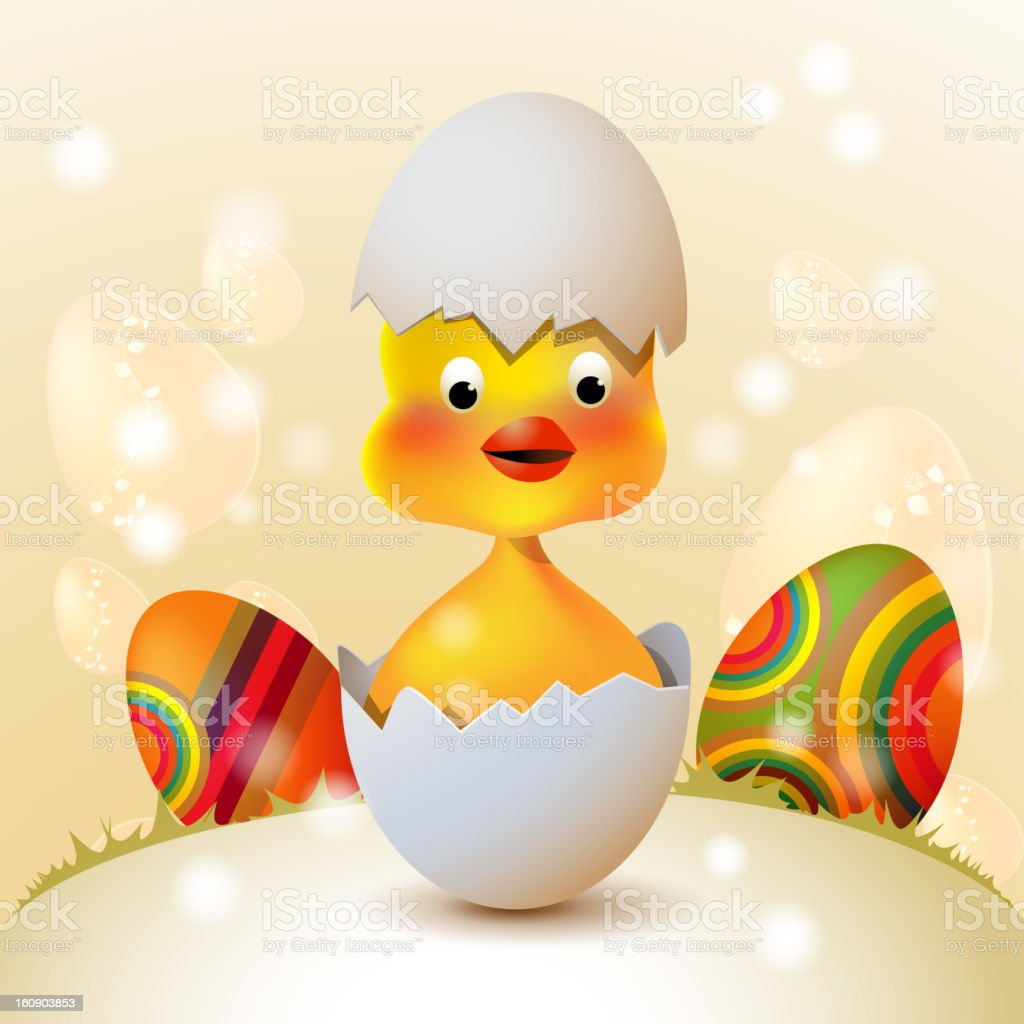 Cute Easter chicken royalty-free stock vector art