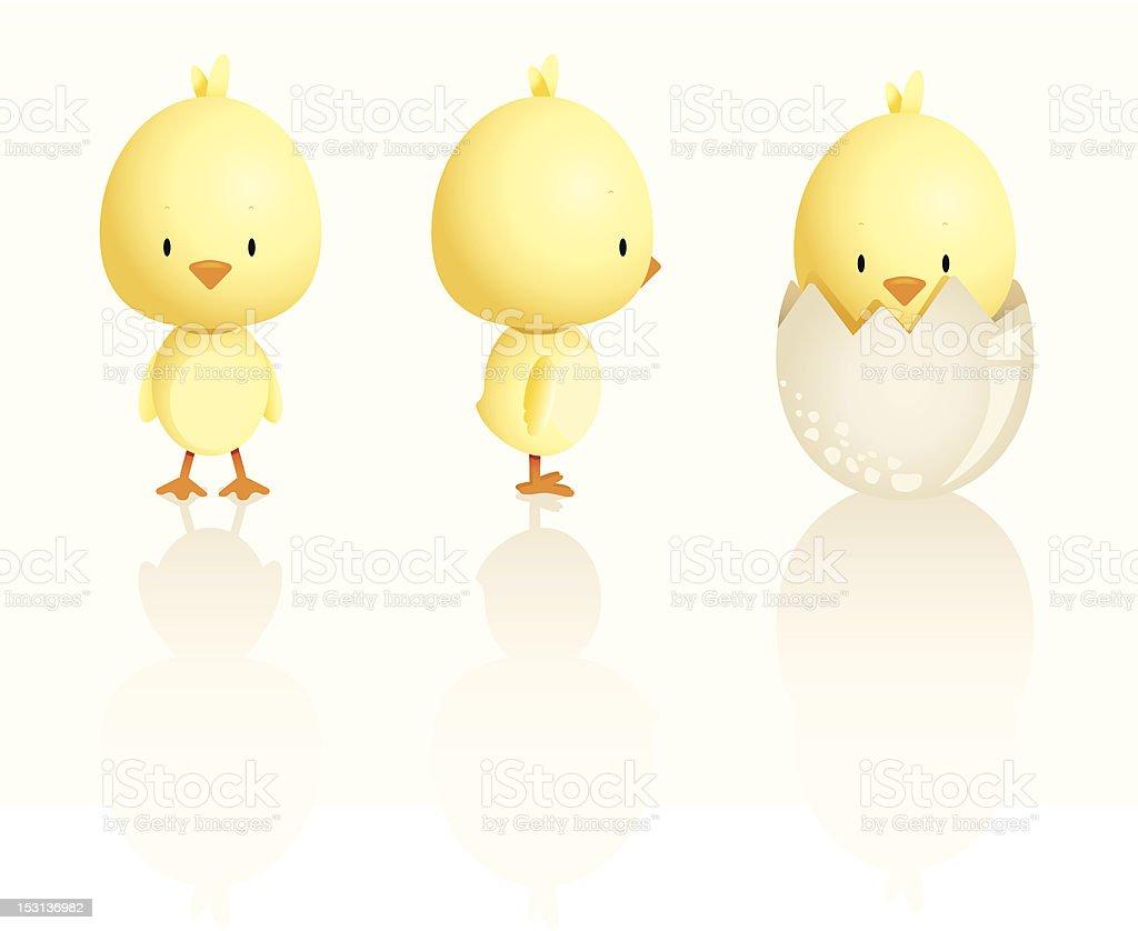 Cute Easter Chicks vector art illustration
