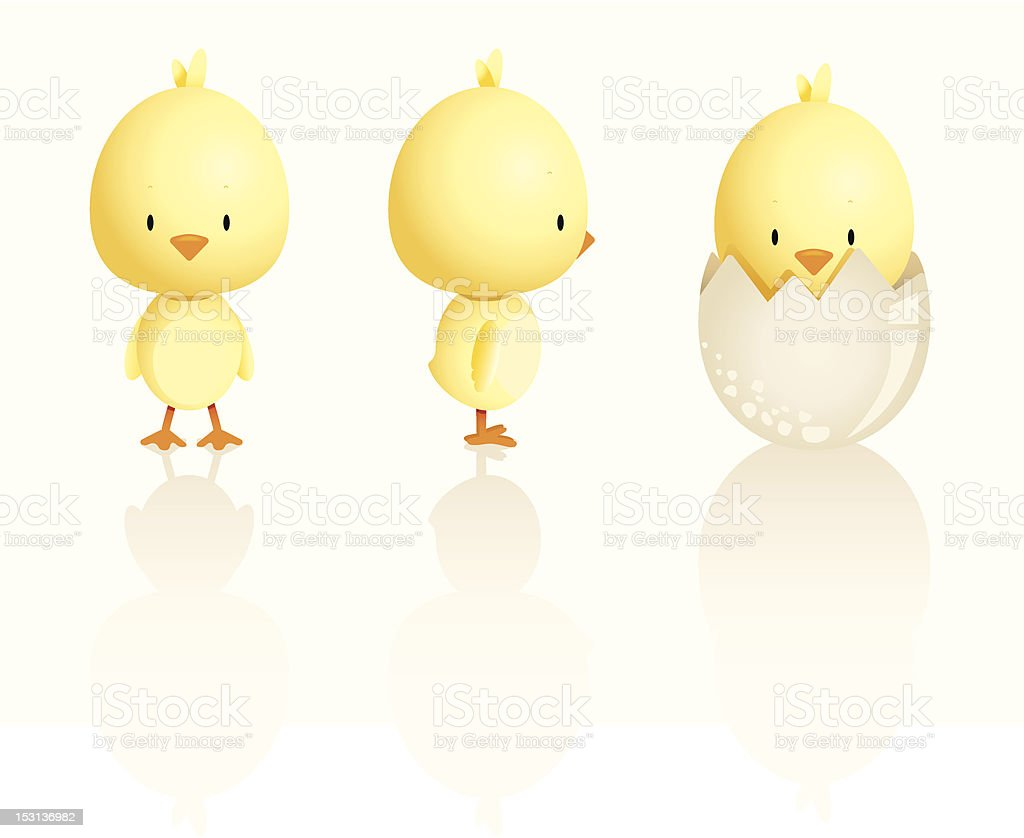 Cute Easter Chicks vector art illustration