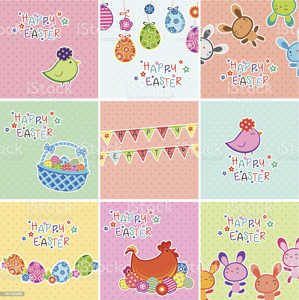 Cute Easter Digital Cards royalty-free stock vector art