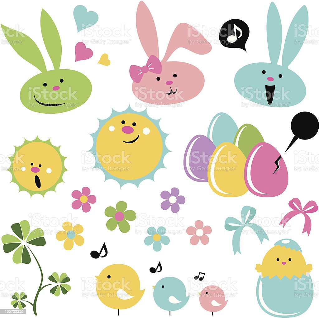 Cute Easter Icon Set royalty-free stock vector art