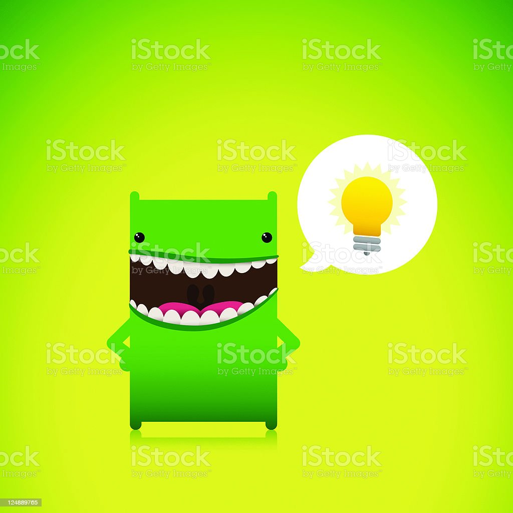 Cute Eco Friendly Character With A New Idea vector art illustration