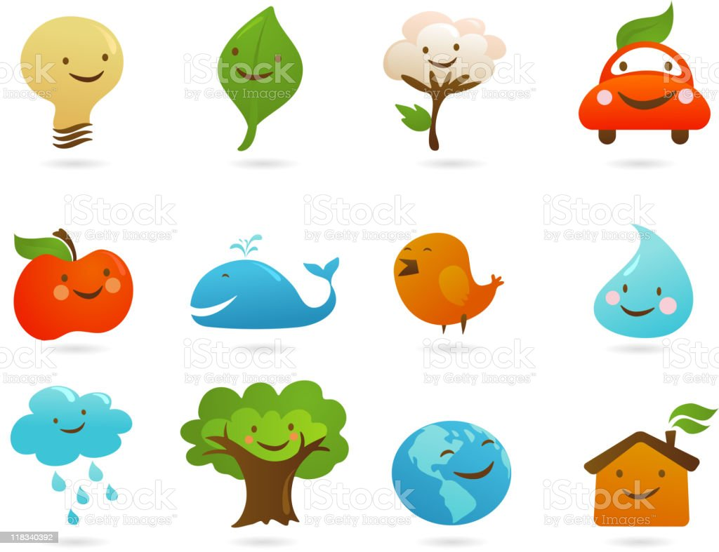 cute ecology icons royalty-free stock vector art
