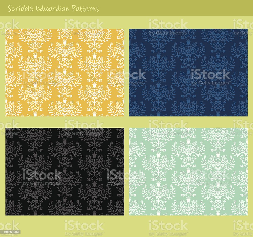 cute edwardian patterns royalty-free stock vector art