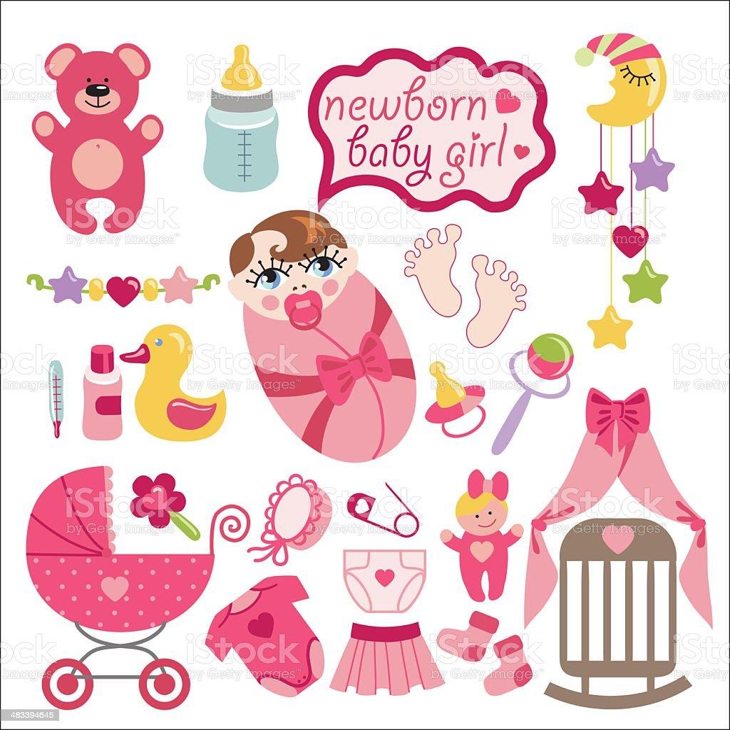 Cute elements for newborn baby girl vector art illustration