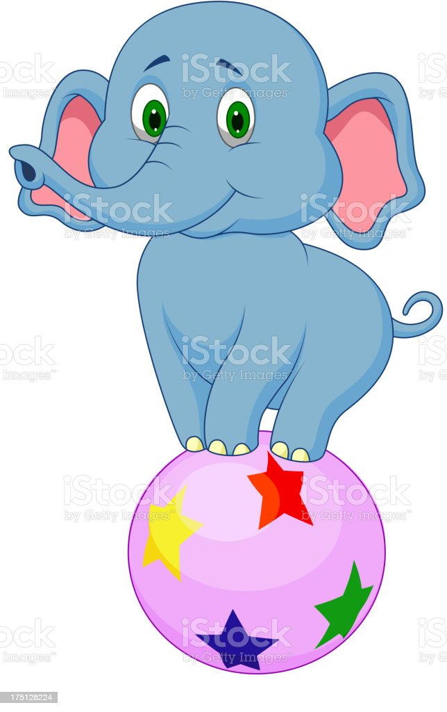 Cute elephant cartoon standing on a colorful ball royalty-free stock vector art