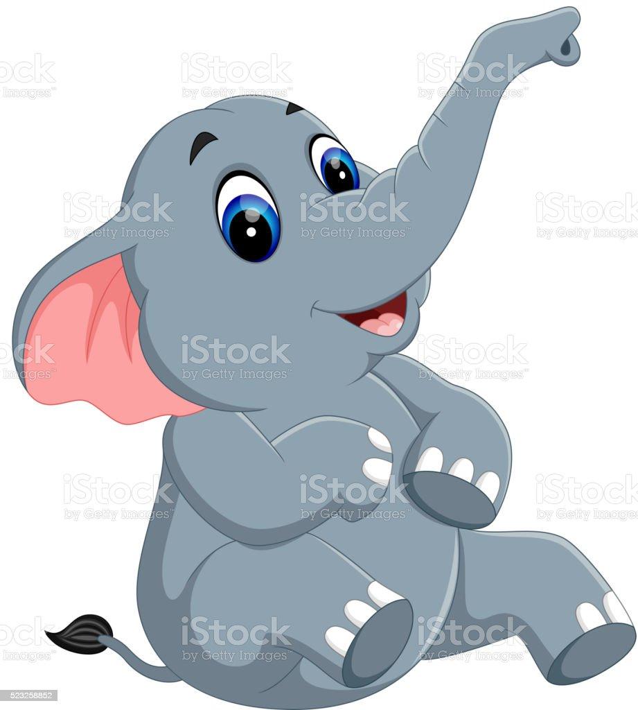 Cute elephant cartoon vector art illustration
