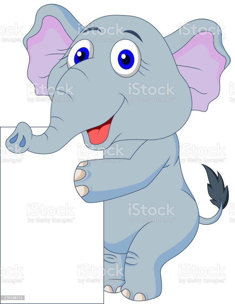 Cute elephant cartoon with blank sign royalty-free stock vector art