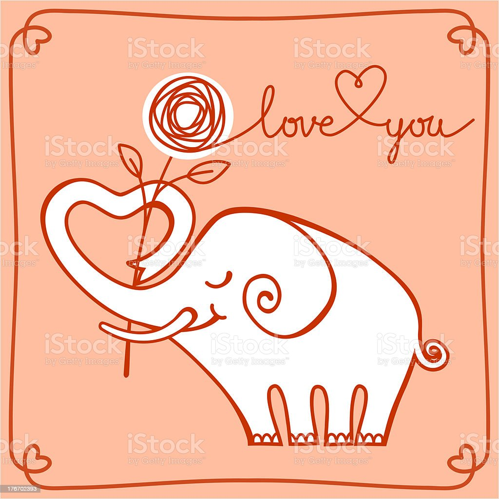 Cute elephant doodle royalty-free stock vector art