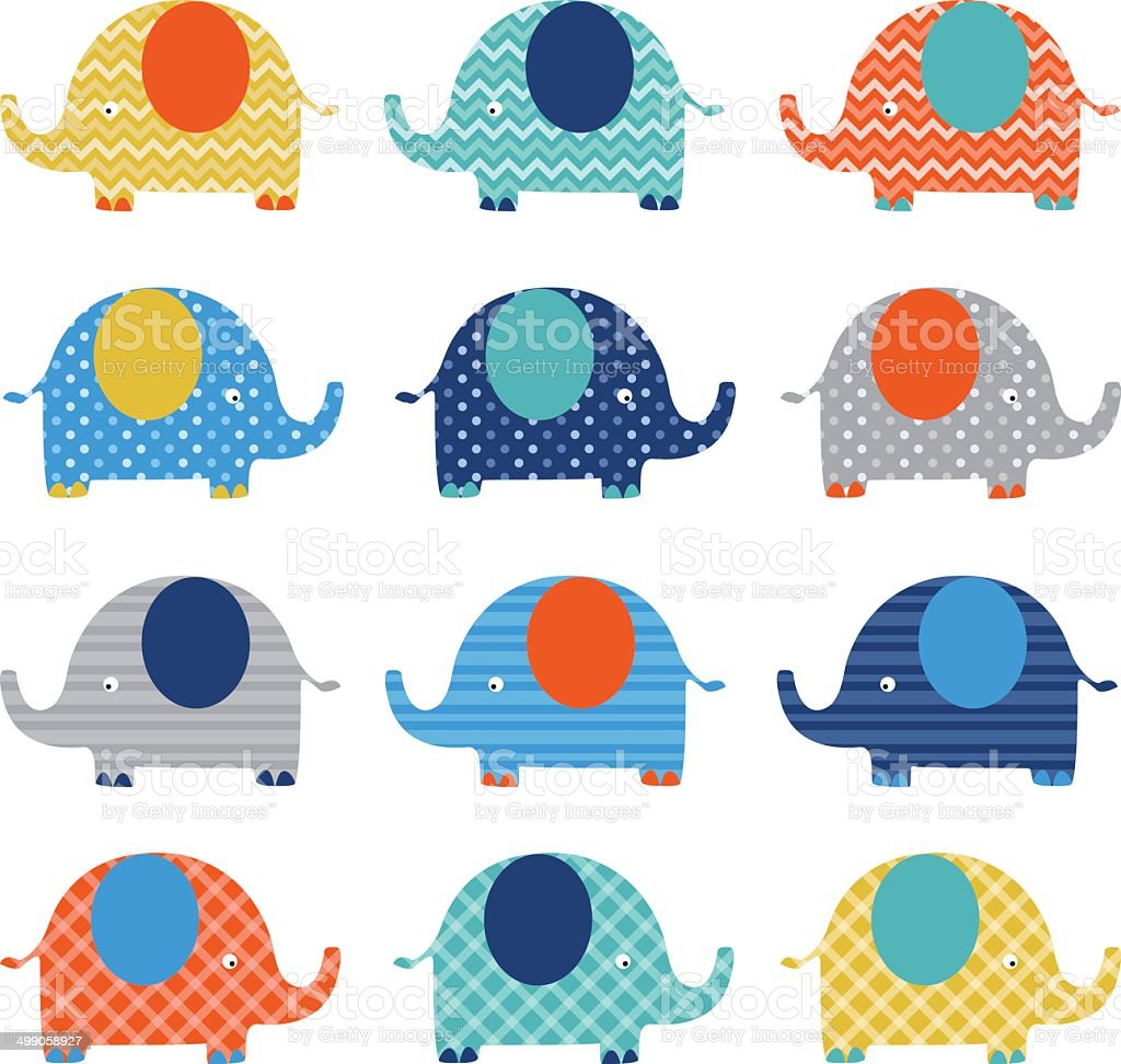 Cute Elephant pattern vector art illustration