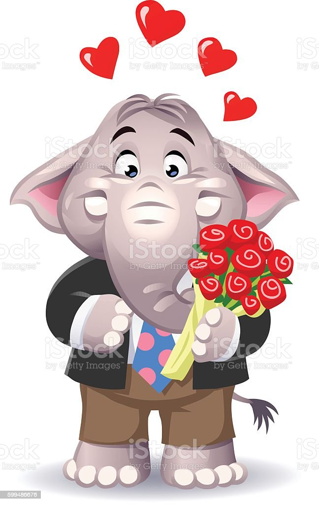 Cute Elephant With A Bunch Of Roses vector art illustration