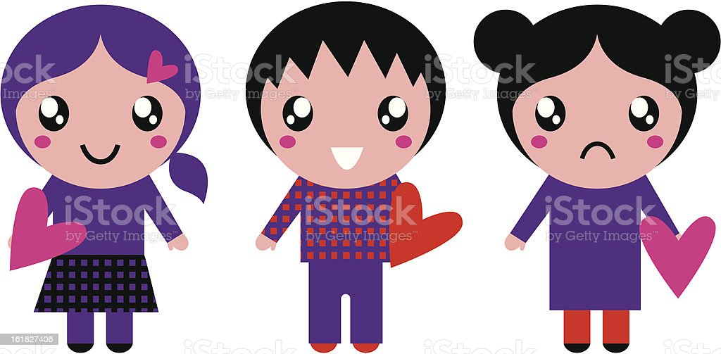 Cute Emo kids holding hearts isolated on white royalty-free stock vector art
